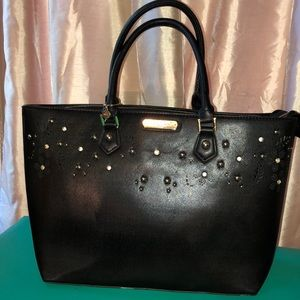 Black vinyl tote with zipper top
